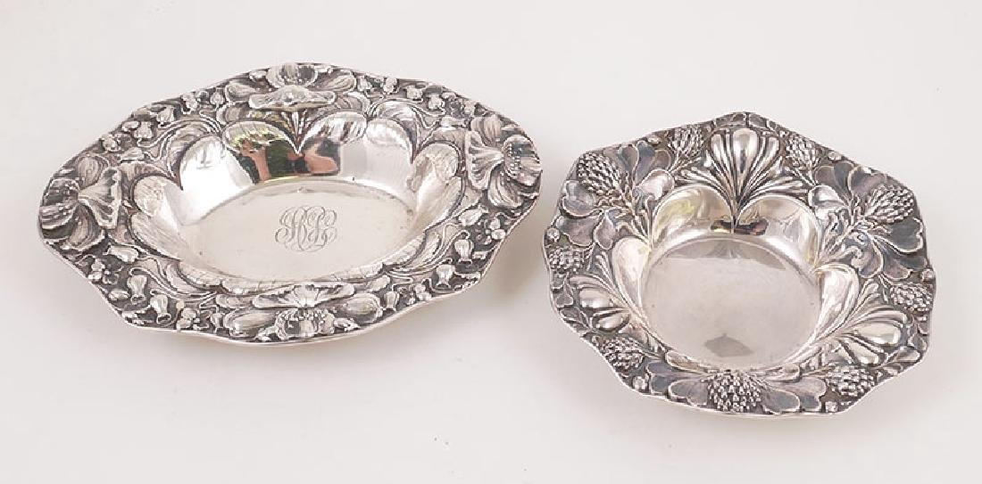 Two Gorham Sterling Silver Repousse Nut Bowls