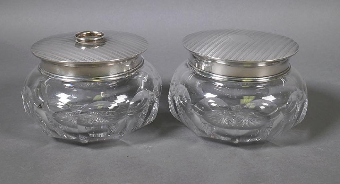 Sterling Silver and Crystal Dresser Jars