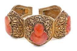 Chinese Filigree Carnelian Buddha Cameos Bracelet