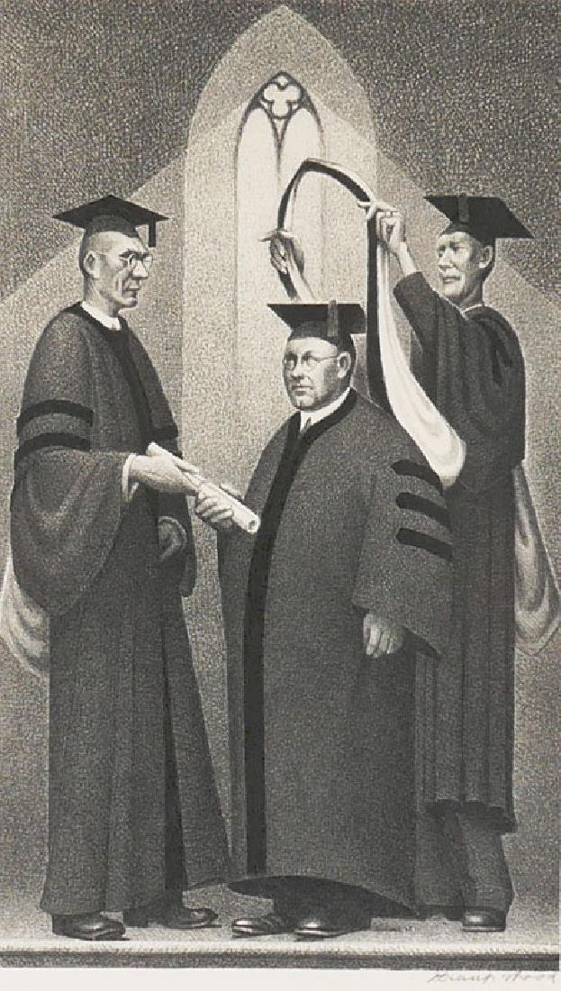 """Grant Wood Ltded Lithograph """"Honorary Degree"""""""