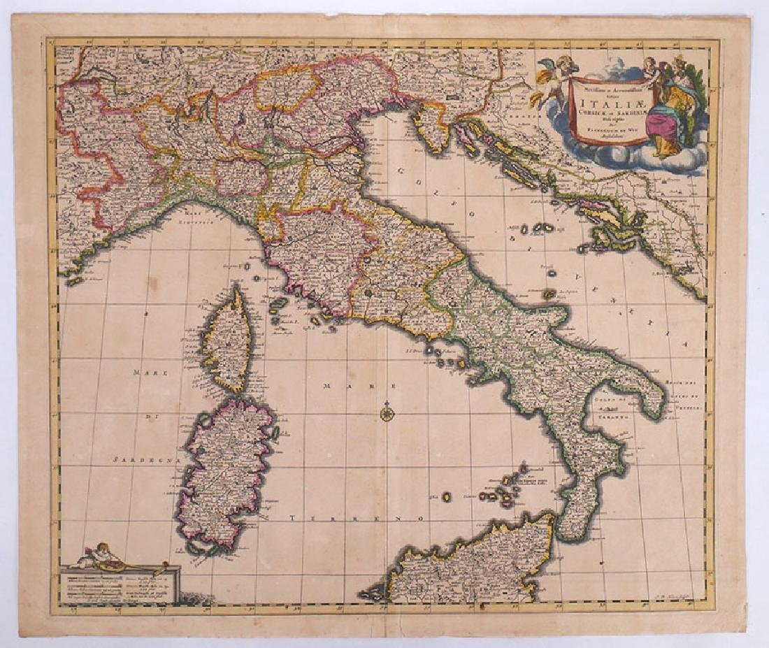 1680 Hand Colored Map of Italy by Frederick de Wit