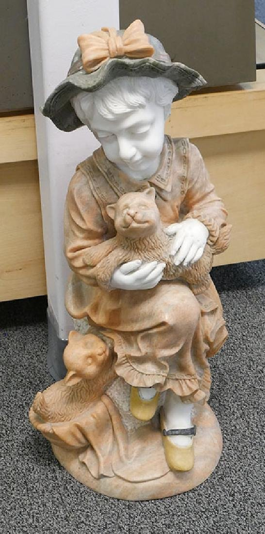 Italian Marble Sculpture of Little Girl & Cats 30""