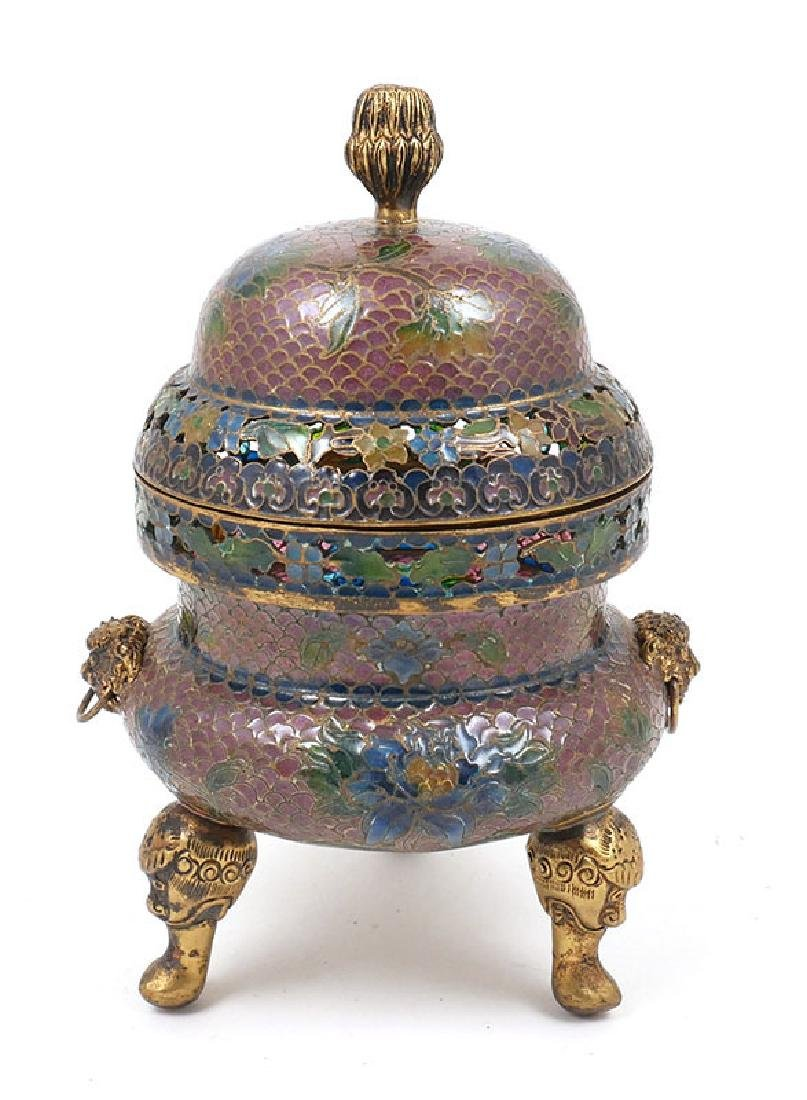 Chinese Footed Plique a Jour Lidded Box