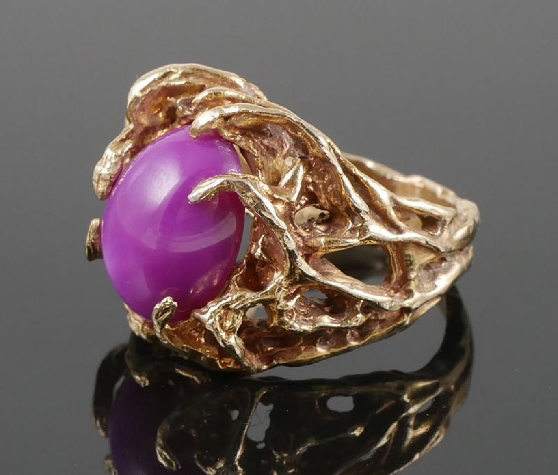 14k Ring w/Large Ruby Star Sapphire Nugget Design