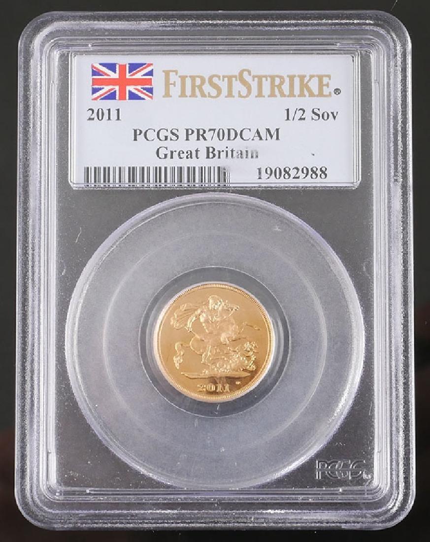 Graded 2011 Gold 1/2 Sovereign Proof PR70 DCAM