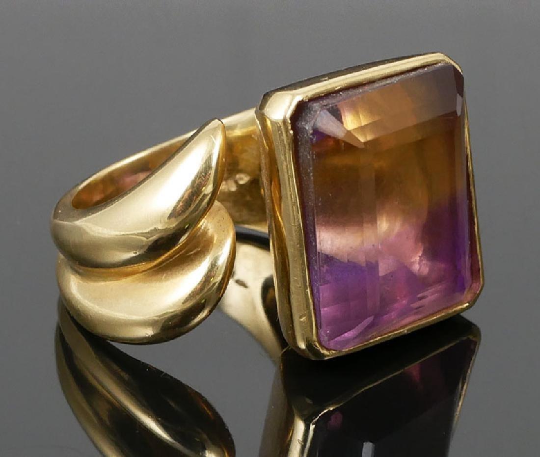 Massive 18k Gold 31.4 ct Ametrine Ring Size 9
