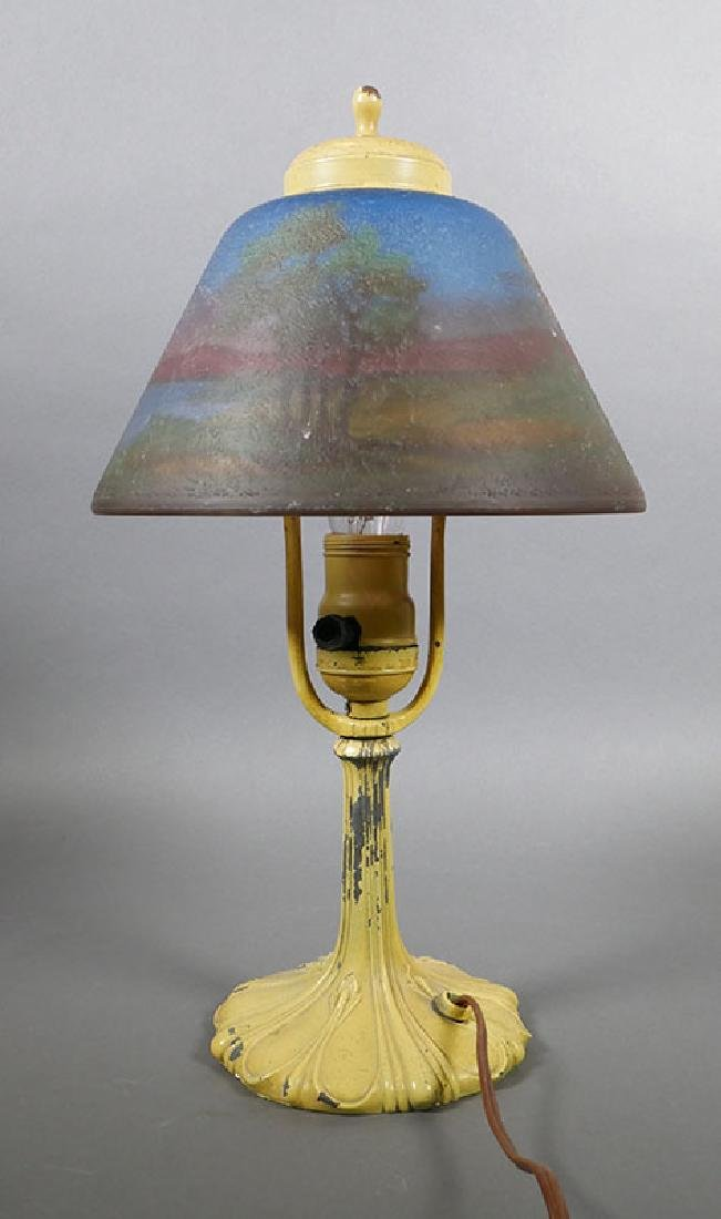Vintage Side Table Lamp w Reverse Painted Shade