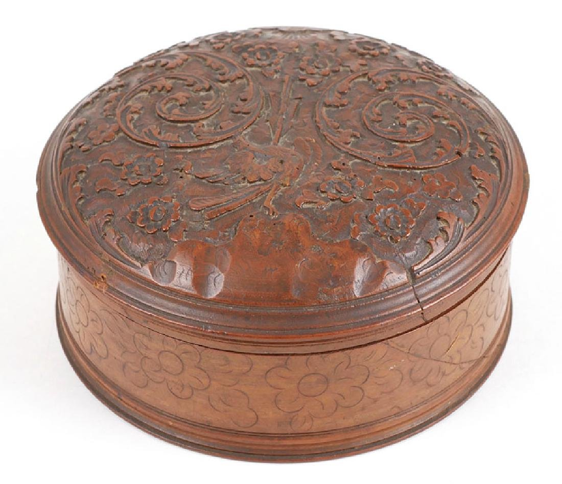 18C French Treen Carved Wooden Box