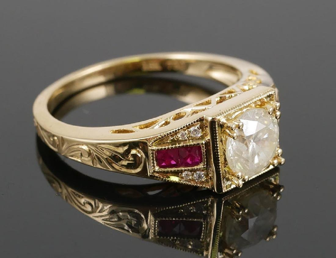18k YG Ladies Diamond & Ruby Ring .80ct