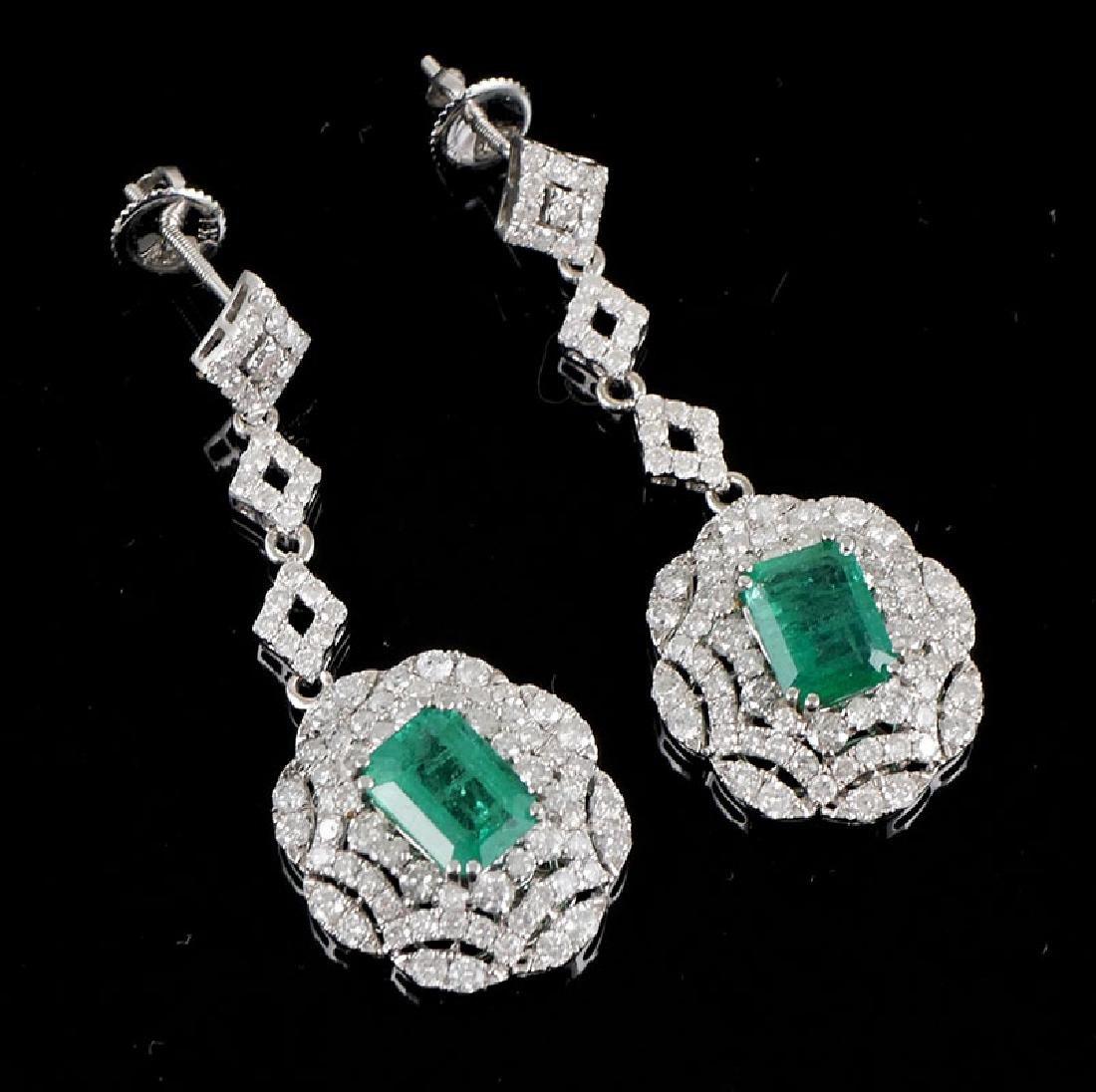 14k WG Emerald & Diamond Dangle Earrings 2.76ct