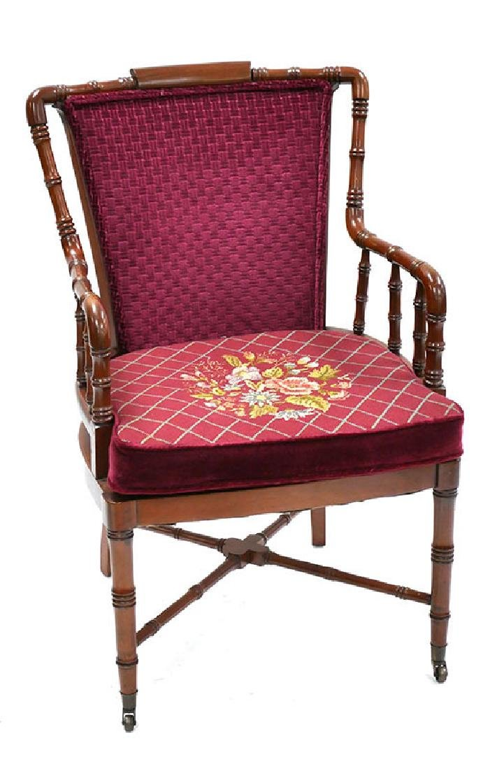 Mahogany Side Armchair w/Needlepoint Seat