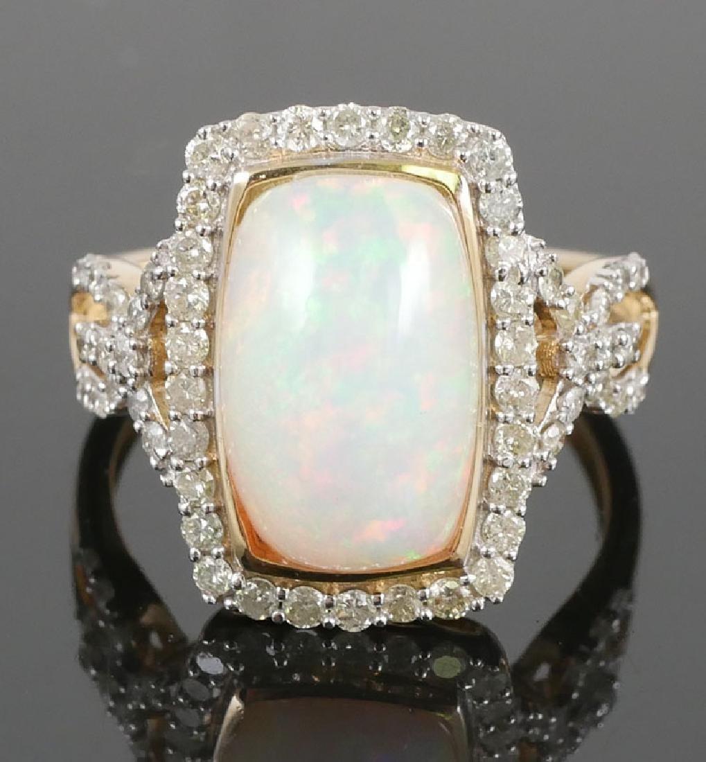 14k YG Cabochon Opal & Diamond Ring