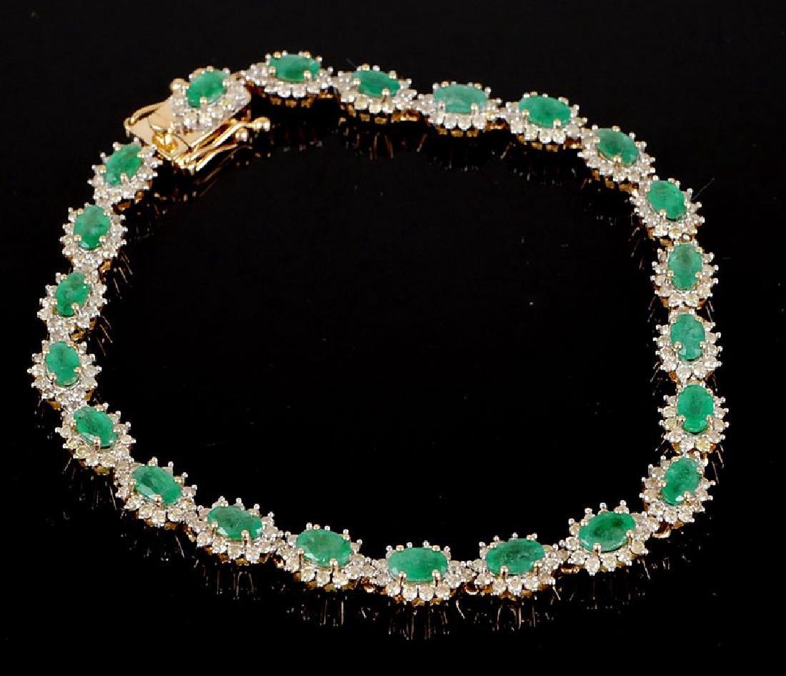 "14k YG Emerald & Diamond Bracelet 7-1/2"" 5.04ct"