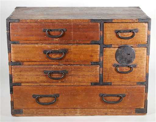 - Small Antique Japanese Tansu 6 Drawer Wood Chest