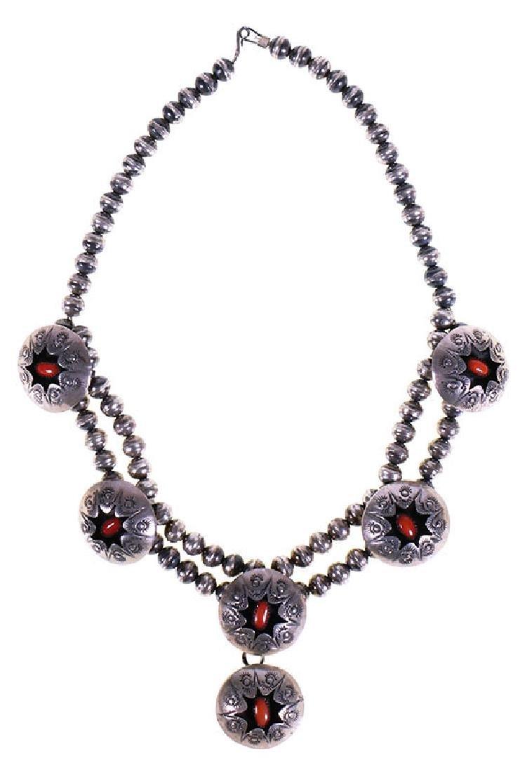Vintage Navajo Coral Shadowbox Sterling Necklace