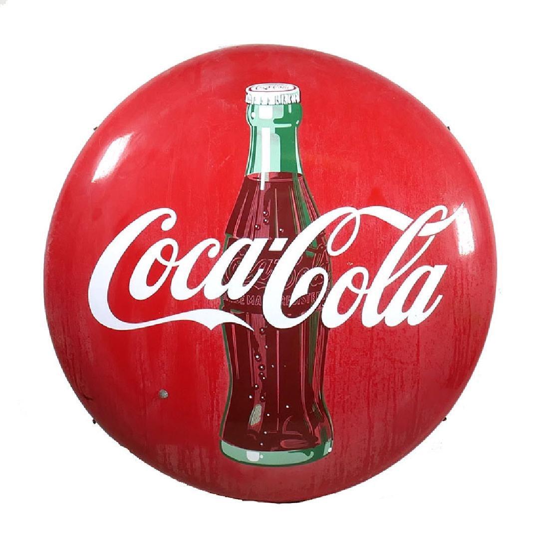 """Vintage Coca Cola Metal Porcelain 36"""" Button Sign"""