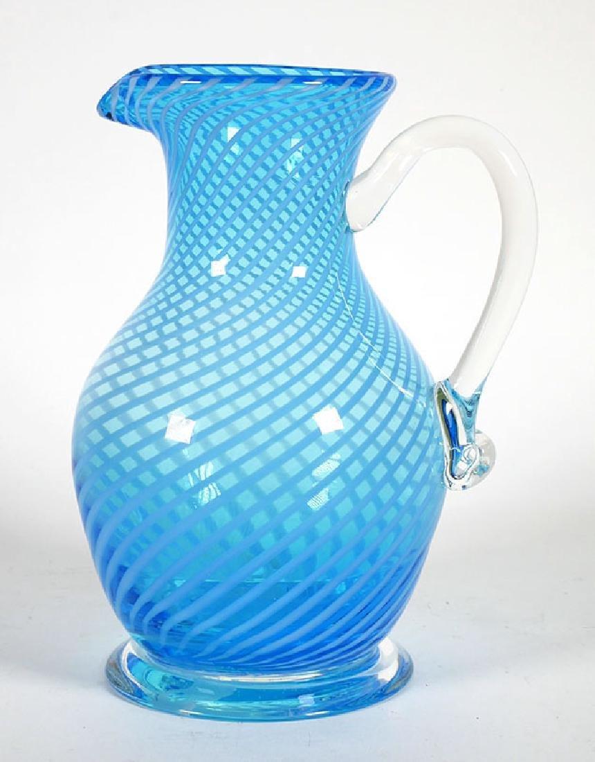 Early 1900s Jefferson Glass Stripe Blue Pitcher