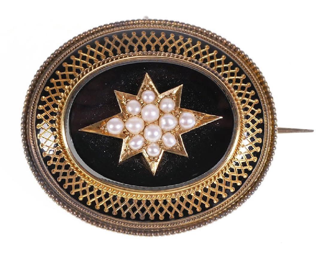 14k Gold Mourning Brooch Victorian Hair Locket Pin
