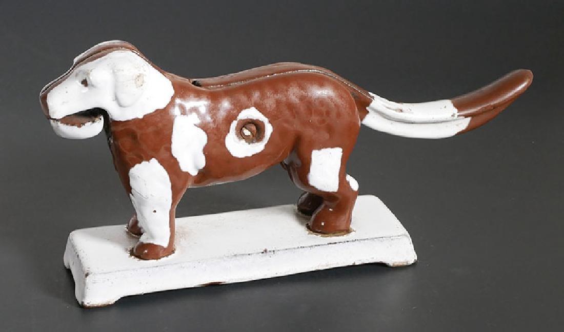 Folk Art Painted Cast Iron Dog Nutcracker