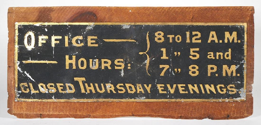 Tin Office Hours Sign w/Sand Surface