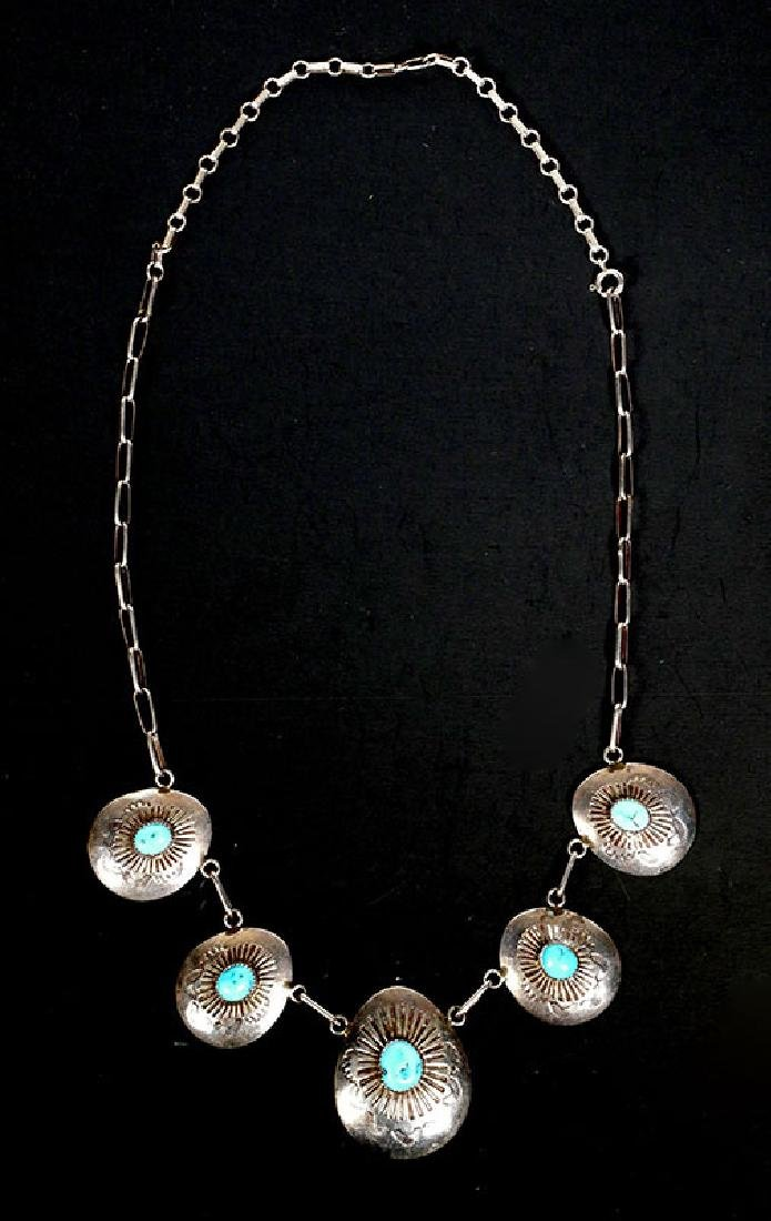 Vintage Navajo Turquoise Concho Sterling Necklace