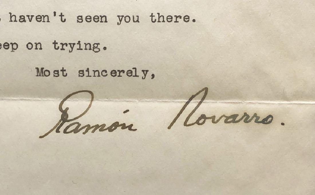 Ramon Novarro Silent Film Star 1939 Signed Letter