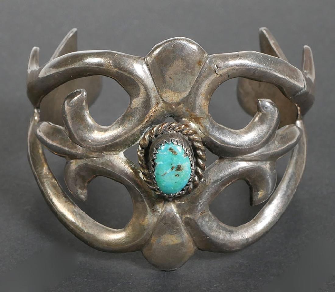 Vintage Navajo Sand Cast Sterling Silver Bracelet