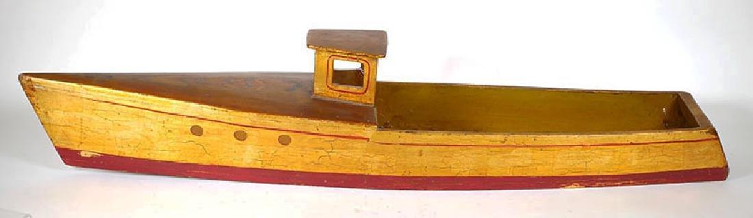 """Vintage Folk Art 1940s Wood Model 36"""" Lobster Boat"""