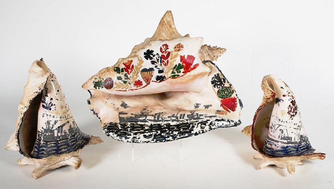 Am War Sailor Decorated Conch Shells