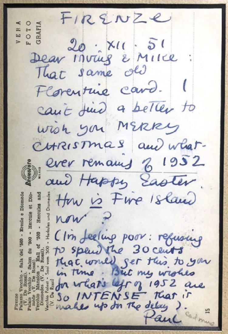 Paul Cadmus Card to Mike De Lisio & Irving Drutman