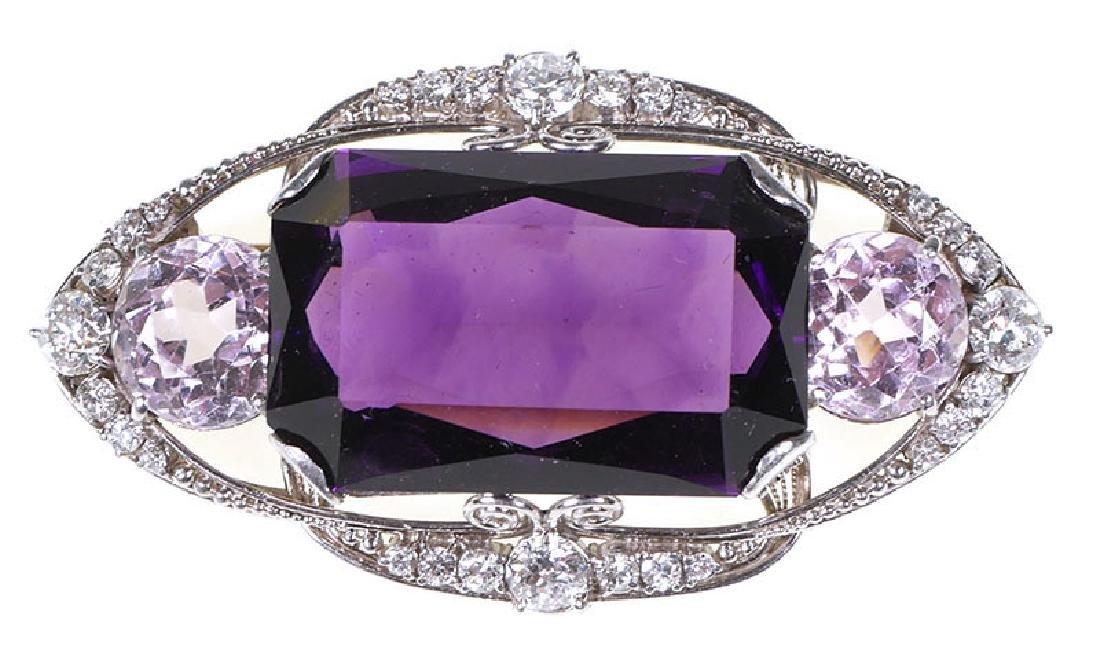 Tiffany Platinum Diamond Amethyst Morganite Brooch