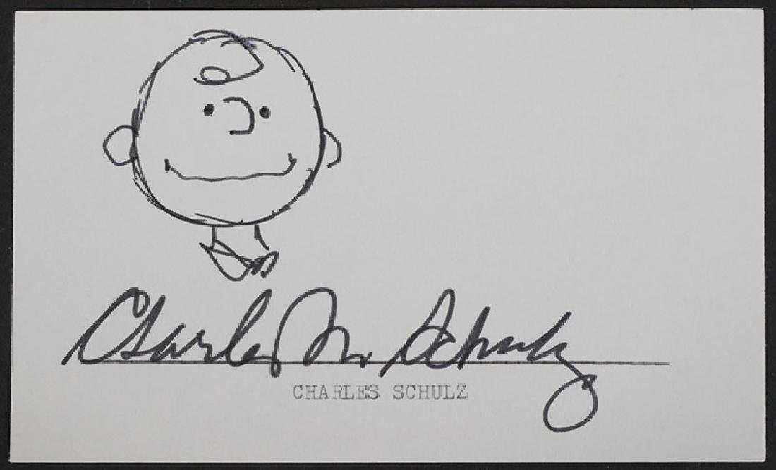 Charles Schulz Charlie Brown Signed Index Card