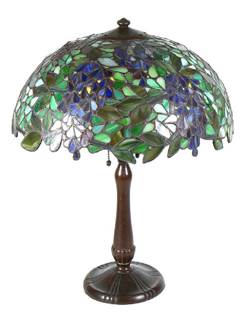 Antique Handel Wisteria Table Lamp Glass Shade