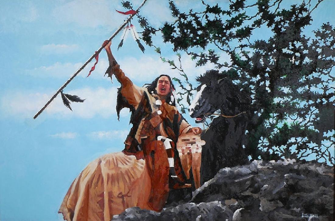 Anthony Gruerio Oil Painting of Indian Brave