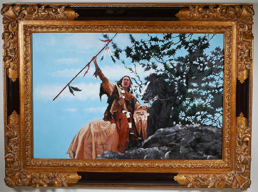 Anthony Gruerio Oil Painting of Indian Brave - 2
