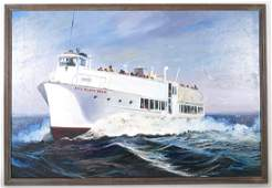 Fire Island Belle Ferry Boat New York Oil Painting