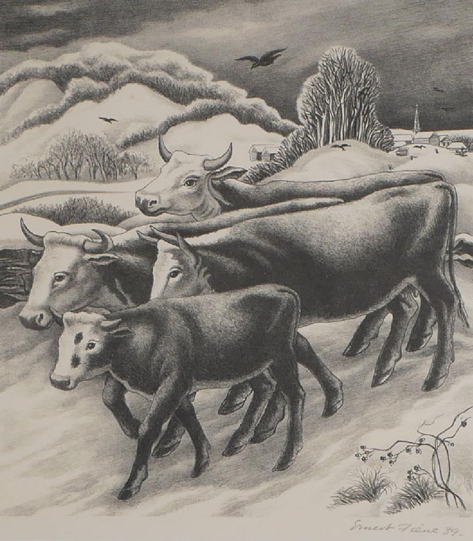 Ernest Fiene (1894-1966) Lithograph Cattle in Snow
