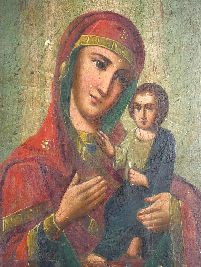 Antique Russian Icon Madonna & Child Painted