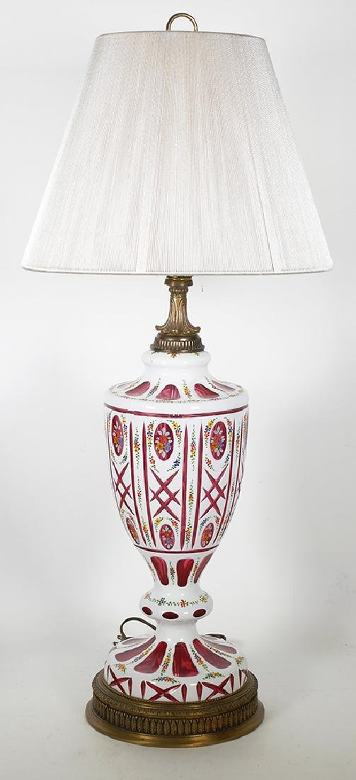 Moser Cranberry & White Overlay Bohemian Lamp