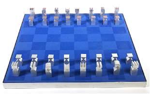 Austin E. Cox Modernist Chess Set 1960s Aluminum