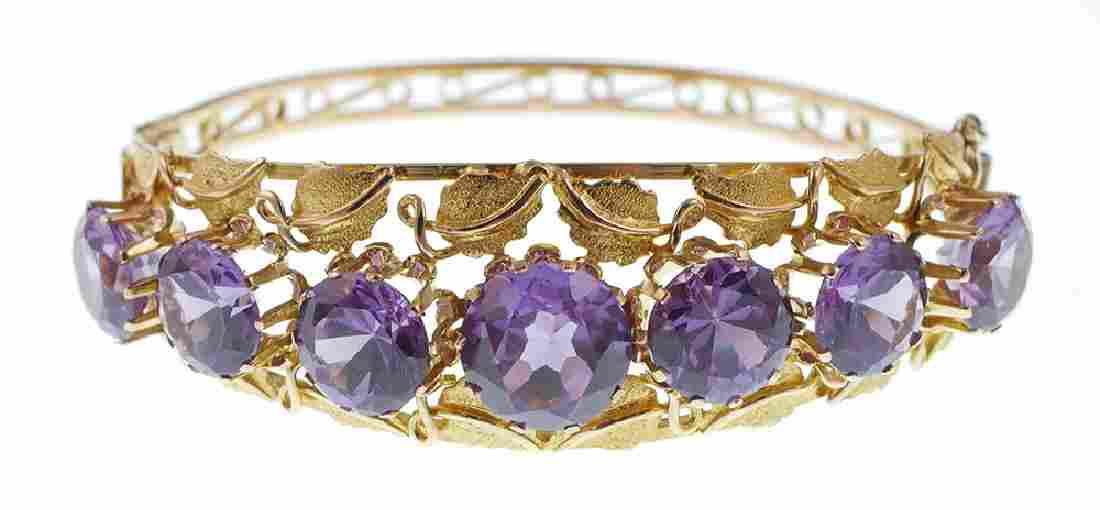 14k Gold Color Change Purple Blue Stone Bracelet