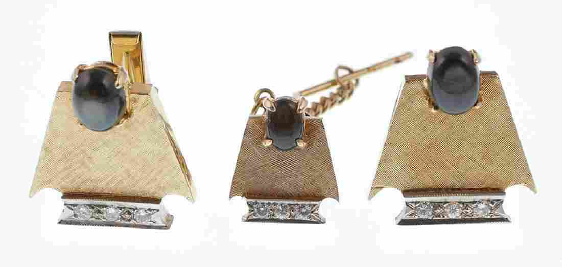 Vintage 14k Gold Diamonds Cufflinks & Tie Tack