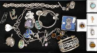 Tray of Sterling Jewelry, Rings, Cuff & Earrings