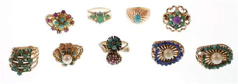9 Vintage 14k Gold Rings w Emeralds Pearls