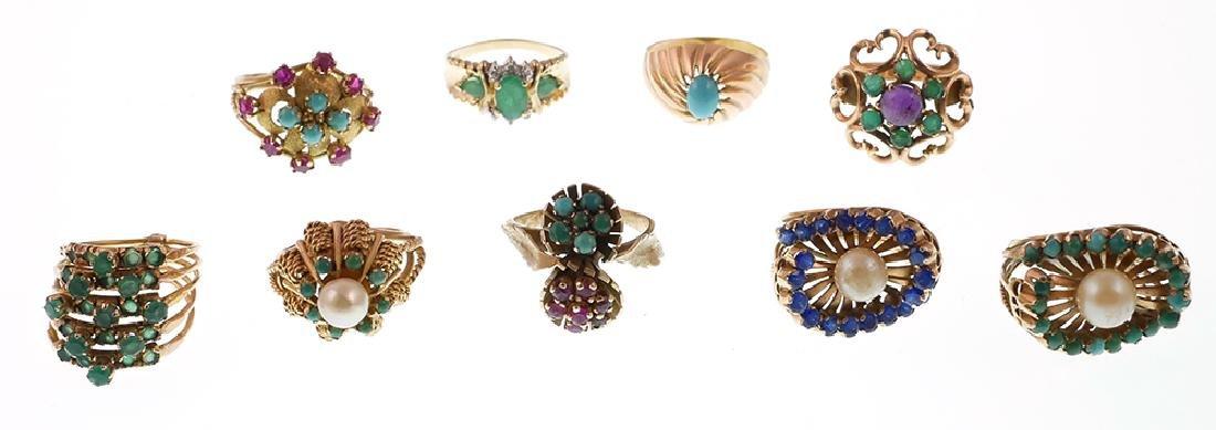 9 Vintage 14k Gold Rings w Emeralds, Pearls