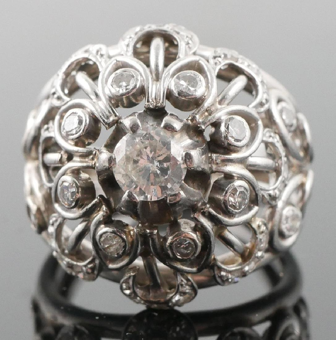 Vintage 18k White Gold Diamonds Dome Ring