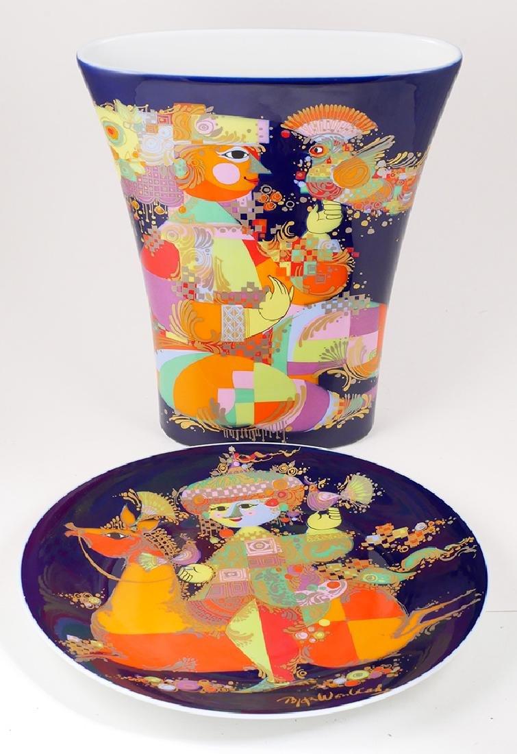 Rosenthal Bjorn Wiinblad Porcelain Vase & Charger