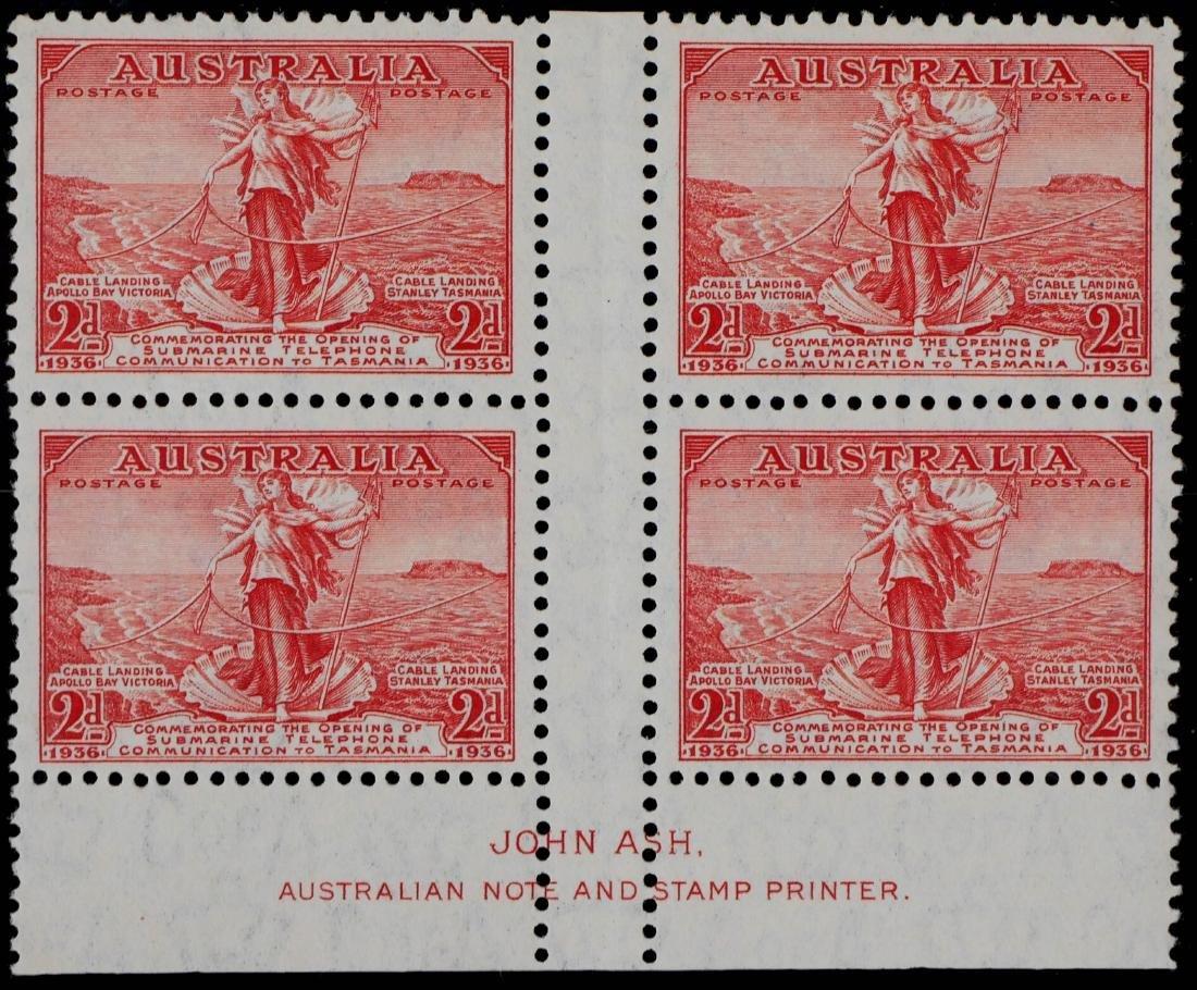 AUSTRALIA, 1936 2p & 3p #157-158 Blocks of Four - 2