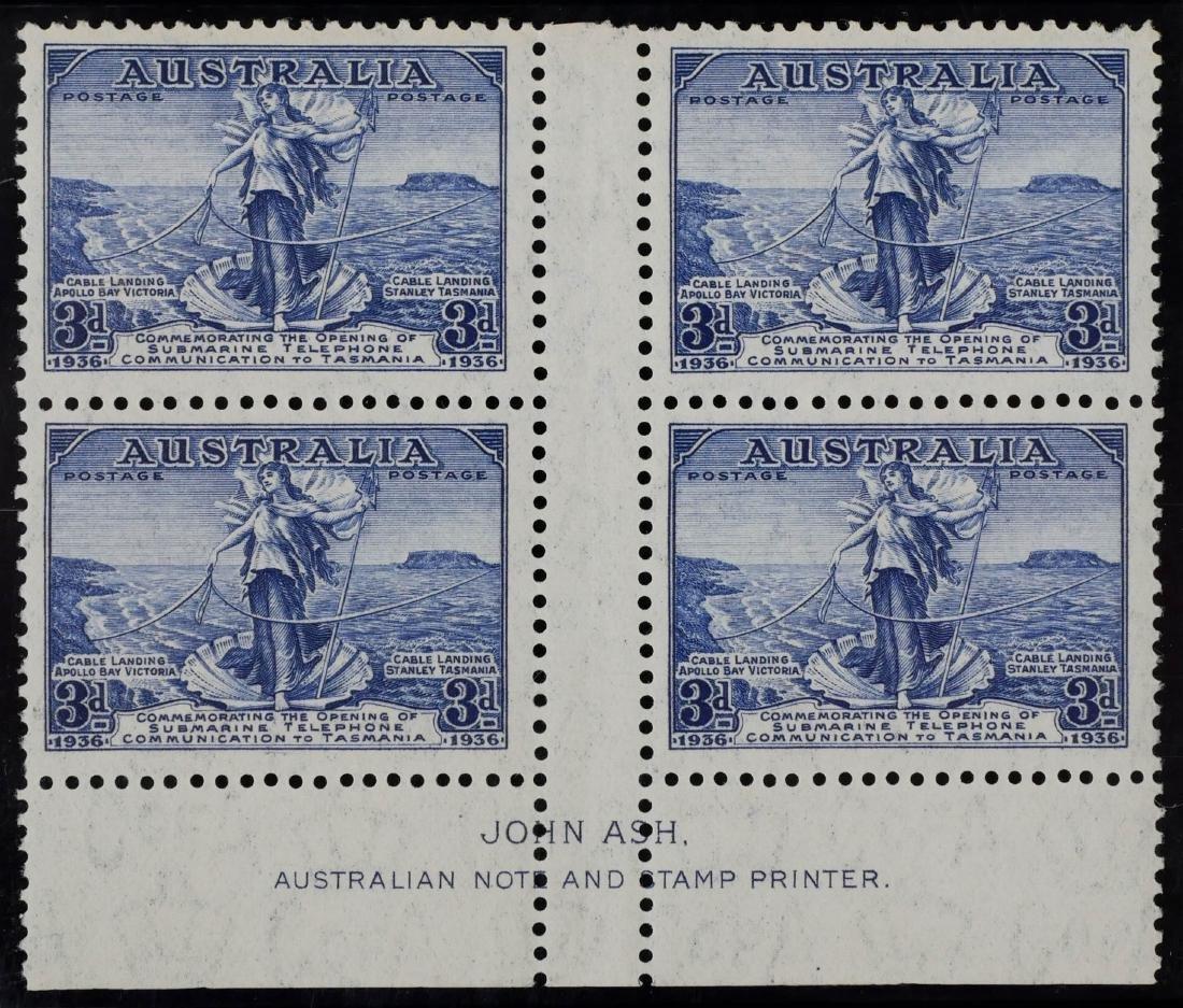 AUSTRALIA, 1936 2p & 3p #157-158 Blocks of Four - 3