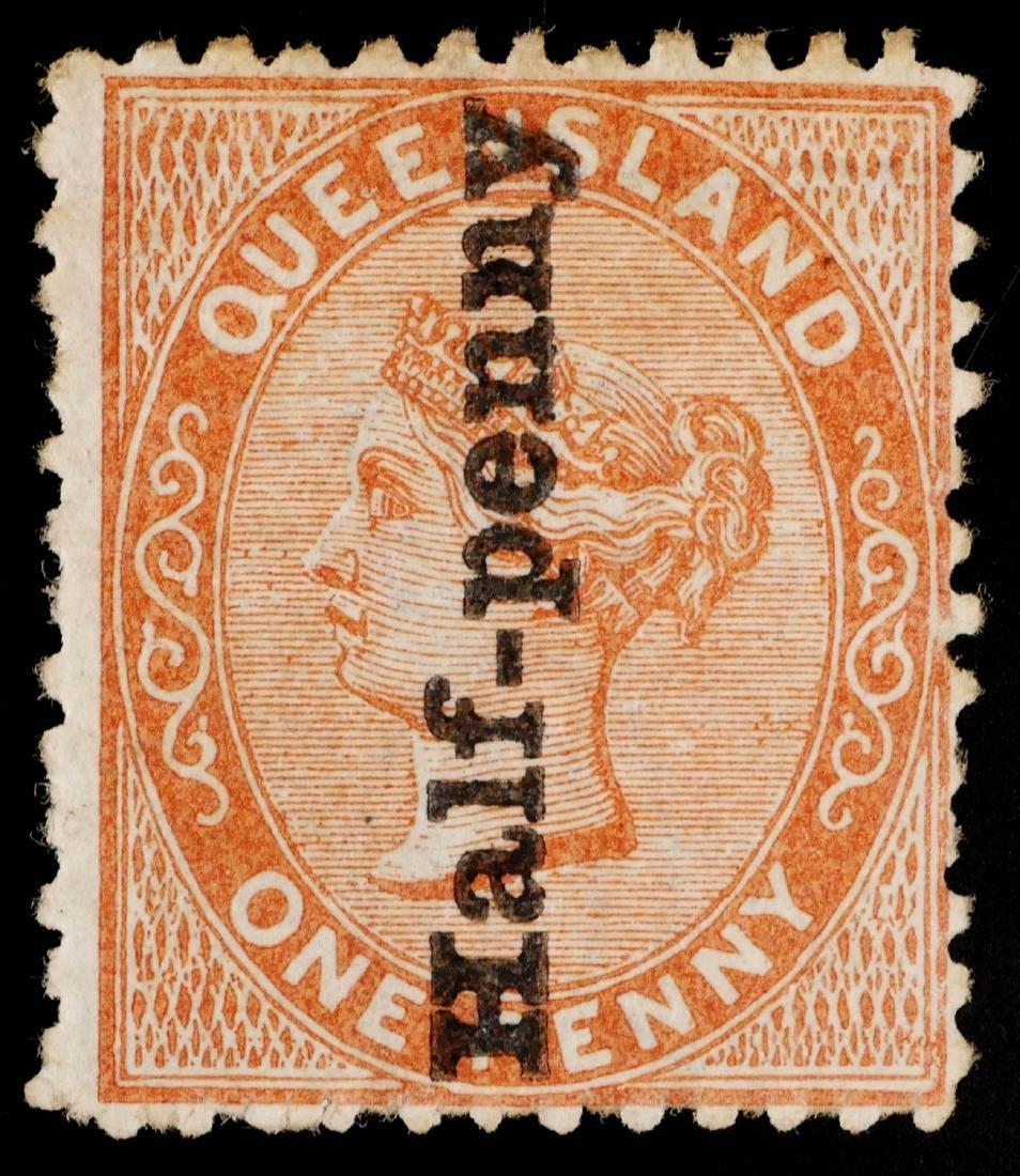 QUEENSLAND, 1880 1/2p on 1p brn org #65 Unused